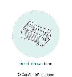 crayon, element., fond, ligne, mobile, vecteur, ton, propre, design., app, isolé, logo, icône, aiguisoir, toile, illustration