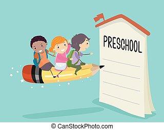 crayon, enroll, gosses, stickman, cavalcade, préscolaire