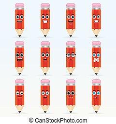 crayon, ensemble, emoticons., mignon