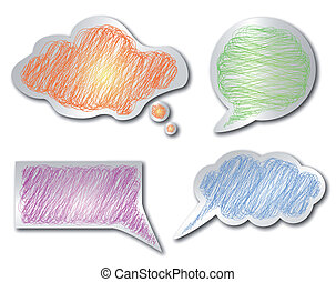 crayon, ensemble, isolé, object., vecteur, gribouiller