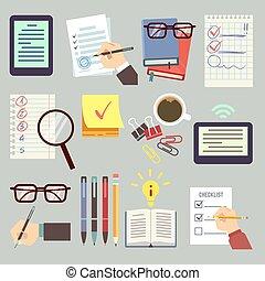 crayon, ensemble, pointage, business, livre, rendez-vous, événement, liste, stylo, vecteur, calendrier, mains, agenda, organisateur, ordre du jour, date