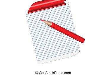 crayon, eps10, bloc-notes, vecteur, page revêtue, rouges
