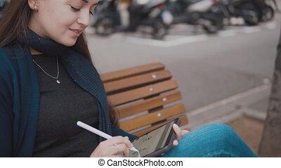 crayon, femme, coup, tablette, slowmotion, stylus, numérique, dessin