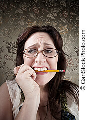 crayon, femme, mastication, nerveux