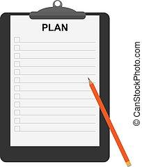 crayon, feuille, règle, plan, mot, document, support
