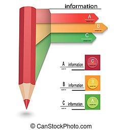 crayon, flèches, gabarit, infographics