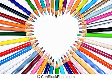 crayon, forme coeur, coloré, contour