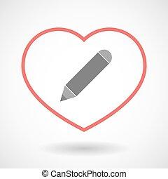 crayon, foyer, ligne, icône