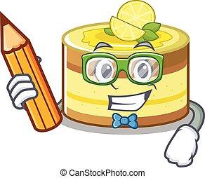 crayon, gâteau, caractère, tenue, étudiant, intelligent, citron