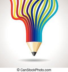 crayon, gabarit, créatif