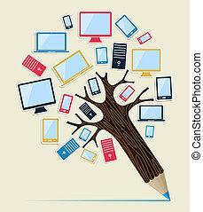 crayon, gadget, concept, arbre, appareils
