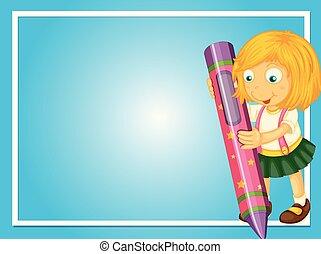 crayon, girl, frontière, gabarit