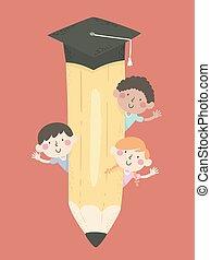 crayon, gosses, education, illustration