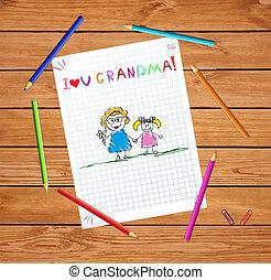 crayon, gosses, petite-fille, illustration, grand-mère, ensemble, dessin