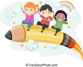 crayon, gosses, stickman, fusée, illustration