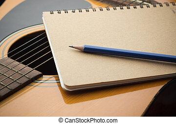 crayon, gros plan, cahier, guitare, musique