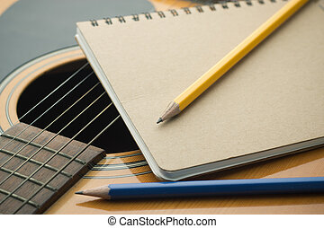 crayon, gros plan, cahier, guitare, Écriture, musique