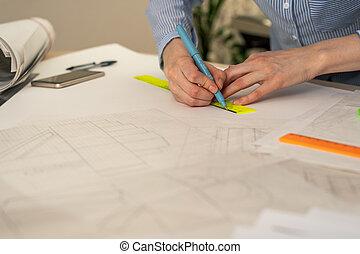 crayon, gros plan, mains, table, règle