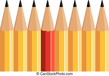 crayon, groupe, rouges