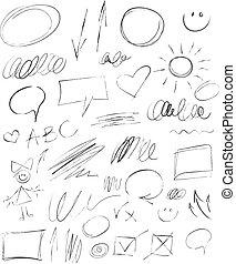 crayon, hand-drawn, éléments, collection