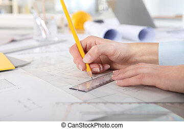 crayon, haut, règle, mains, fin, dessin