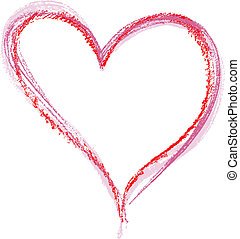Crayon Heart image isolated on a white background.