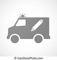 crayon, icône, isolé, ambulance