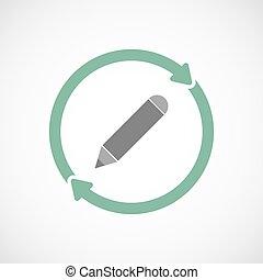 crayon, icône, réutilisation, isolé