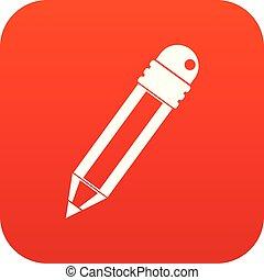 crayon, icône, rouges, gomme, numérique