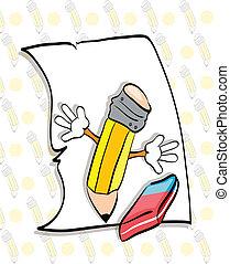 crayon, illustration, gomme, papier