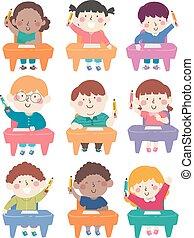 crayon, illustration, gosses, sièges, classe, prise