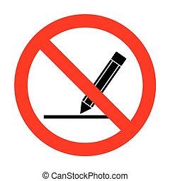 crayon, illustration., non, signe