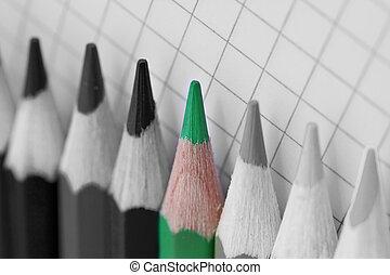 crayon, image, coloré, unique, bw, aller, vert