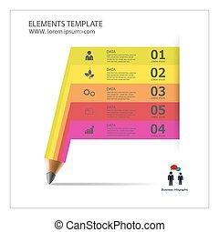 crayon, infographic, ruban, gabarit, banner.