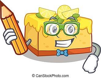 crayon, intelligent, cheesecake, caractère, tenue, étudiant, citron