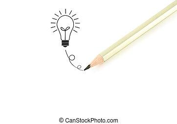 crayon, isolé, idée, arrière-plan., ampoule, blanc, écriture
