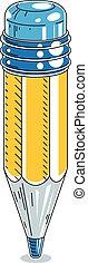 crayon, isolé, illustration, arrière-plan., vecteur, blanc