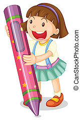 Crayon kid - Illustration of a girl with large crayon