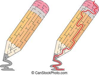 crayon, labyrinthe