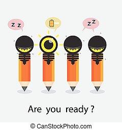 crayon, lumière, concept., créatif, conception, ampoule, différence