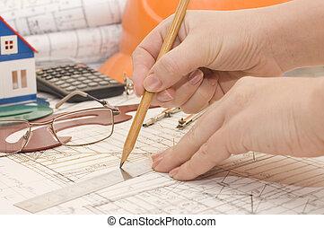 ??????, crayon, maison, main