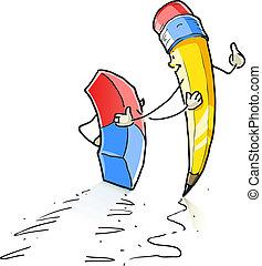 crayon, marche, gomme, plomb, dessin animé