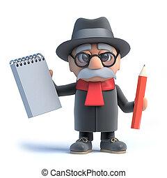crayon, marche, vieux, cadre, bloc-notes, tenue, homme, 3d