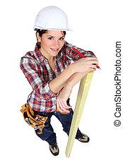crayon, marquer, bois, charpentier, femme
