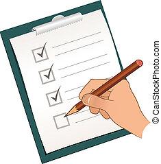 crayon, marquer, liste, chèque, main