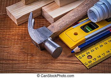 crayon, modèles, niveau, règle bois, cla, briques, ...