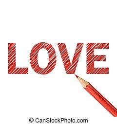crayon, mot, rouges, amour, dessiné