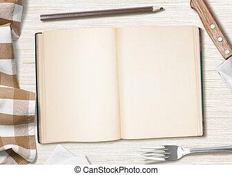 crayon, notes, cuisine, recette, livre, vide, table, ou,...