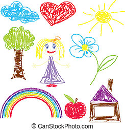 Vector illustration of crayon painted girl tree sun flower apple rainbow heart