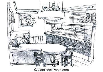 Hand Sketching Of A Modern Kitchen Interior Designer S Hand Drawing